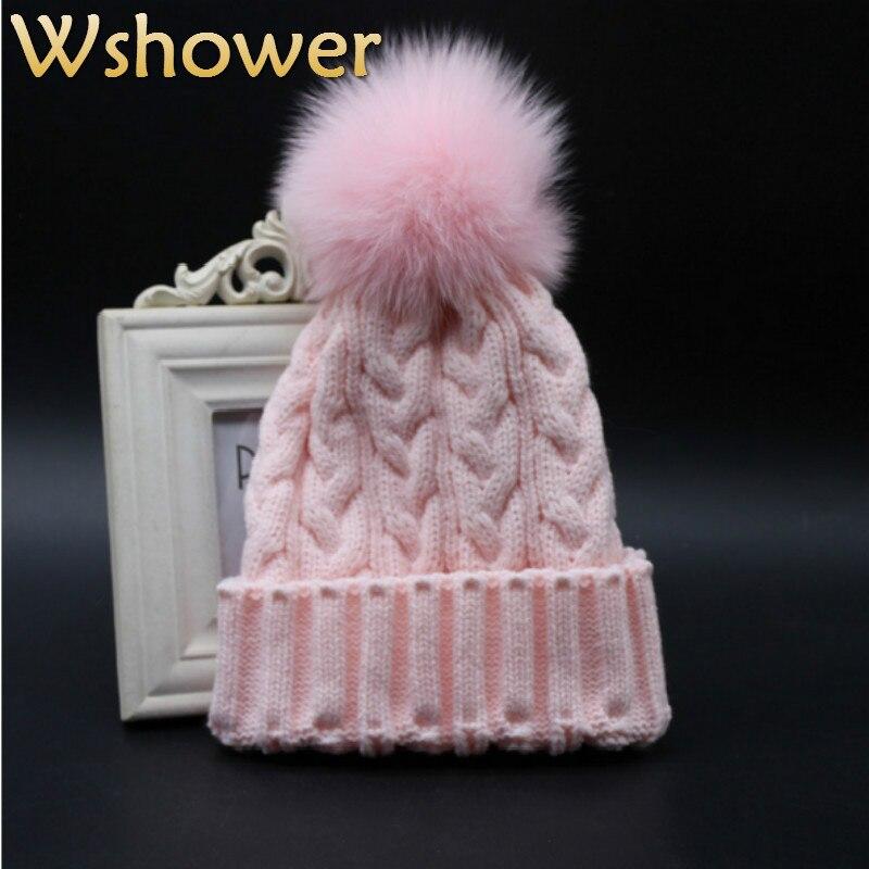 468a1b16d07 Which in shower Adult Women Men Faux Fox Fur Pom Pom Beanie Hat Crochet  Knitted Warm Fake Fur Pompom Winter Cap Bonnet Female