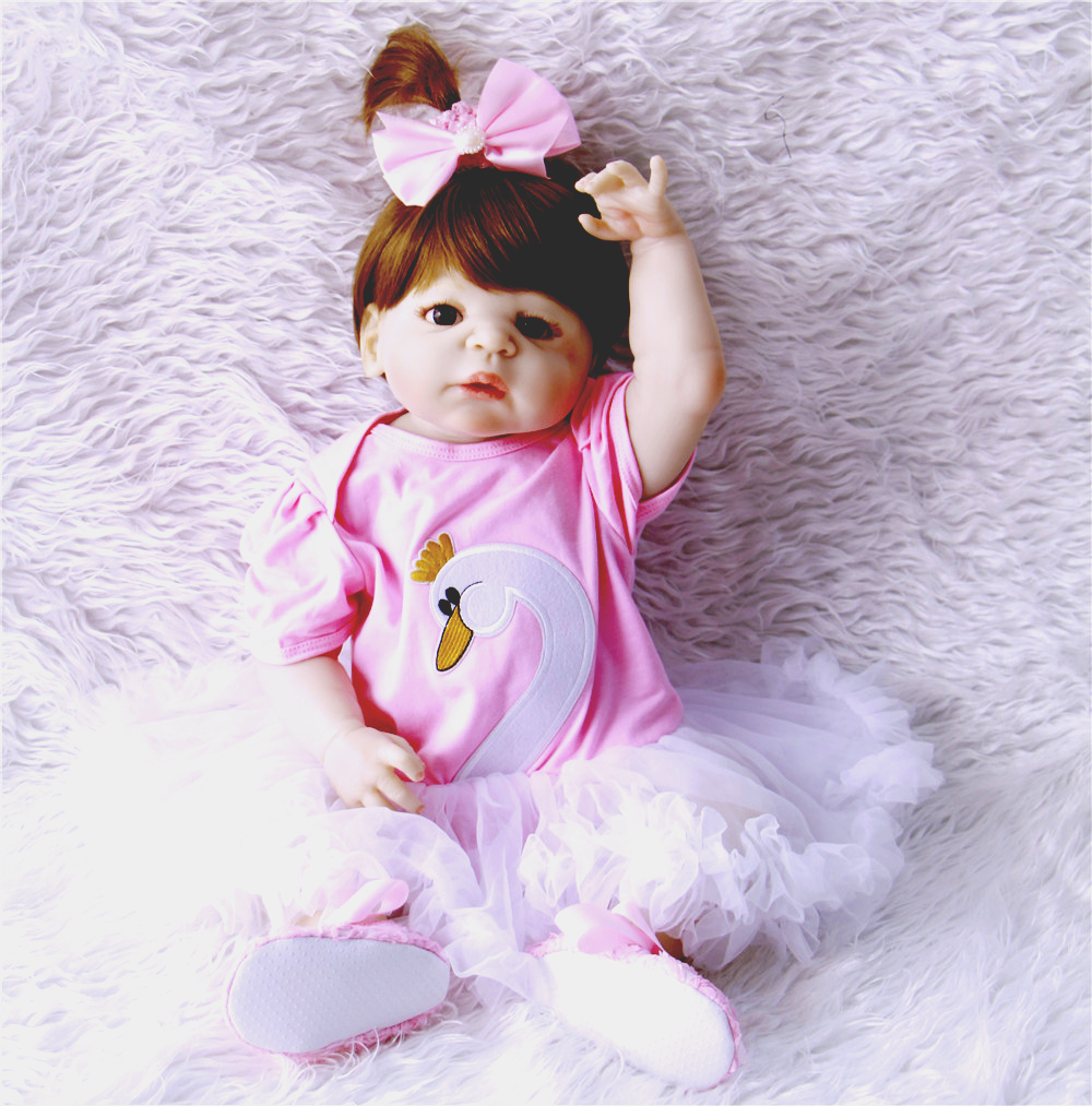 23inch Full Body Silicone Reborn Babies Doll brown hair girl Newborn Babies Toddler Doll Lovely Birthday Gift Girl Brinquedos23inch Full Body Silicone Reborn Babies Doll brown hair girl Newborn Babies Toddler Doll Lovely Birthday Gift Girl Brinquedos