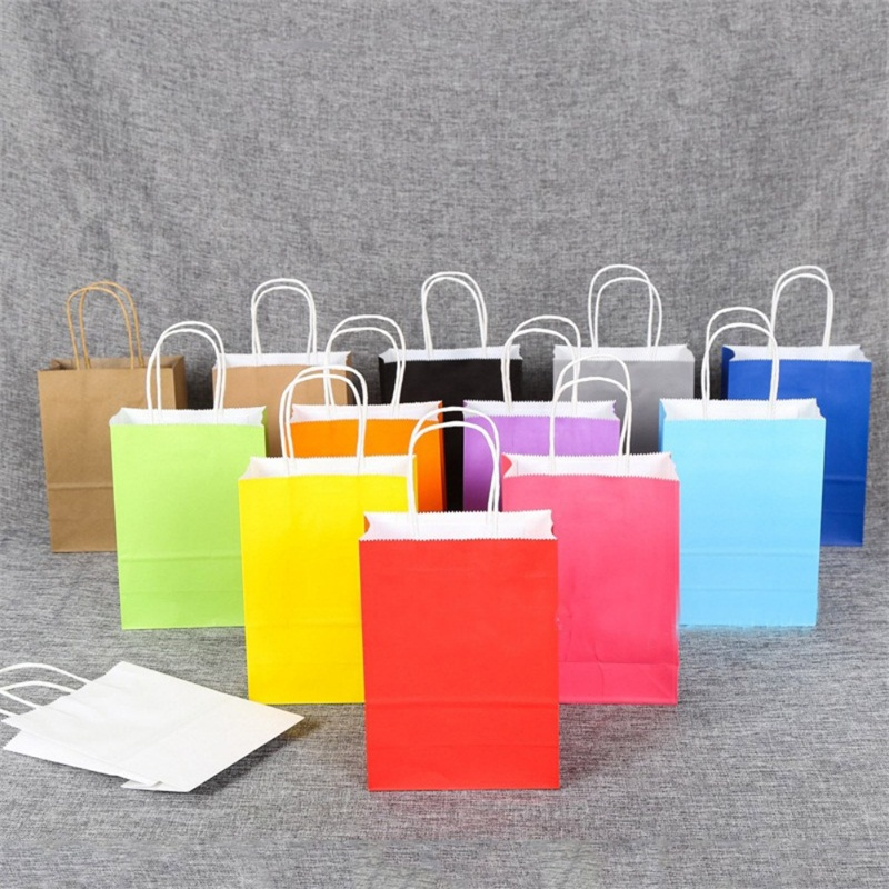 Party Gift Coloured Paper Handles Bags Recyclable Party Gift Paking Bags Wedding Birthday Shopping Home Decor