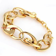 Hot Selling Fashion Modern Female's Bracelets Chain Link Bracelet 100% 316L Stainless Steel Jewelry Gold Tone  High Quality