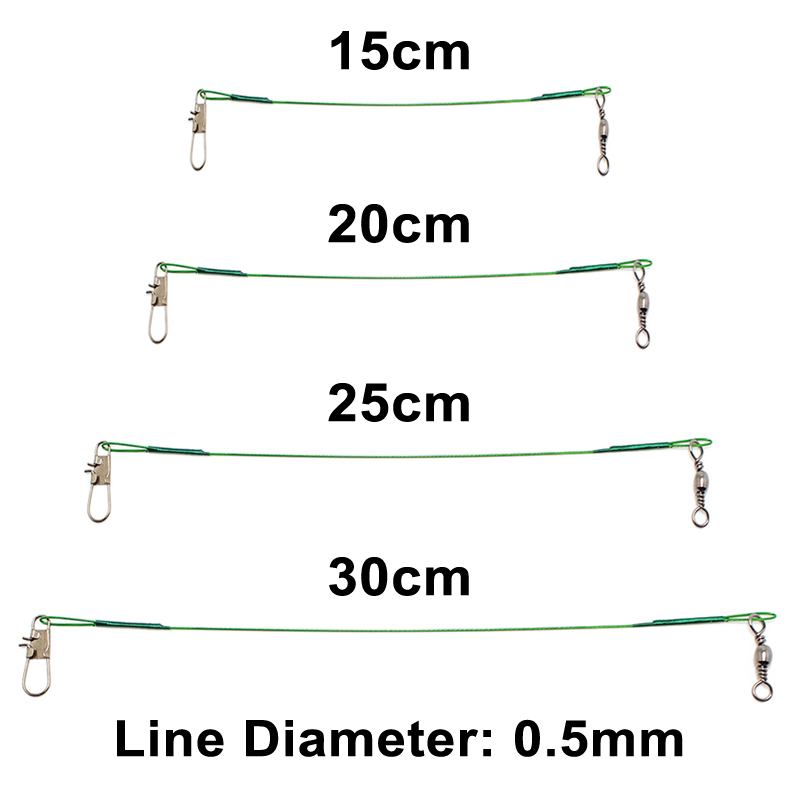 KASSYA 5PCS 15CM 20CM 25CM 30CM Fishing Lure Trace Rope Wire Leader Line Swivel Tackle Spinner Shark Spinning Pesca Lines Fish in Fishing Lines from Sports Entertainment