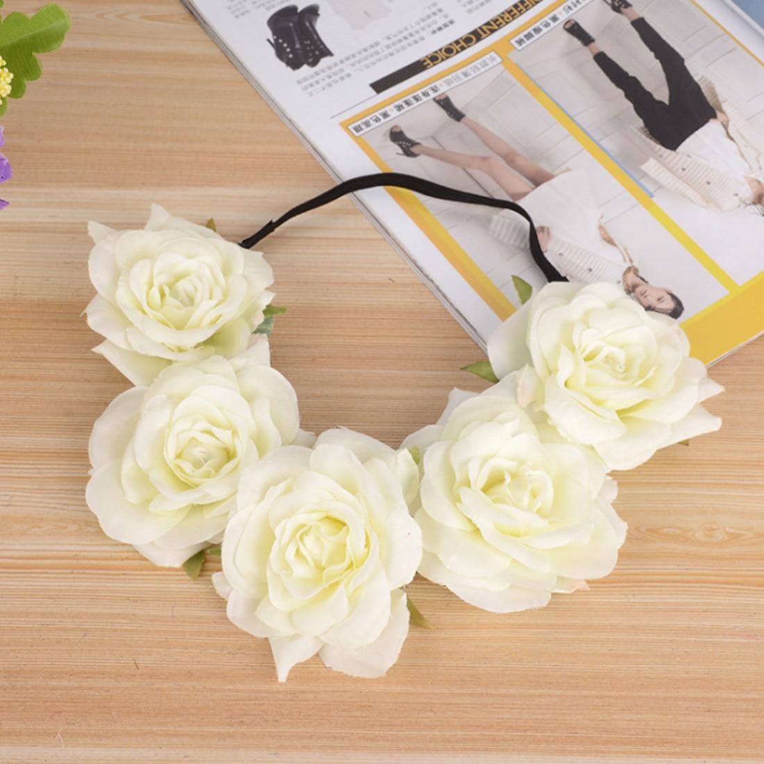 Surwish Bridal Wreath Flower Head Band Hair Band Floral Crown for Festival Wedding Beach Flower Headband - Beige
