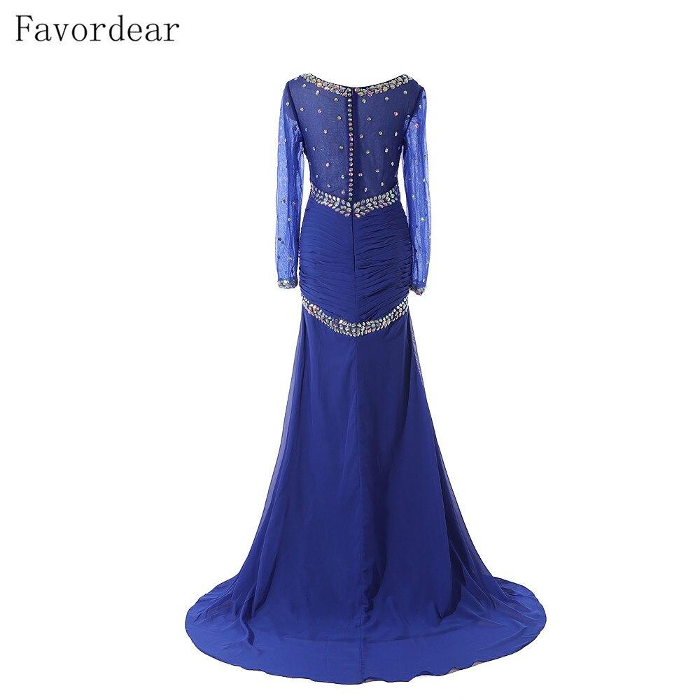 Favordear 2019 New High Quality Chiffon Mermaid Long Sleeve Formal Evening Dress Beading Royal Blue Black Muslim Evening Dress