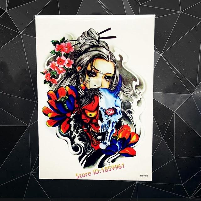 New Waterproof Body Art Decals Temporary Tattoo Beauty Girl Geisha