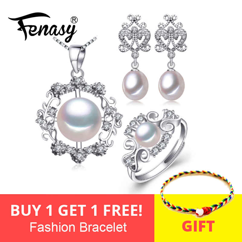 FENASY 925 Sterling Silver earrings with stones,natural Pearl jewelry sets for women,bohemian set ethnic earrings rings