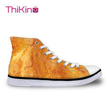 Thikin Texture Pattern High Top Canvas Casual Shoes for Teenager Popular Women Dog Sneaker Lovers