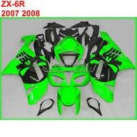 ABS Motorcycle fairing kit for Kawasaki zx6r zx 6r Ninja 07 08 2007 2008 green custom fairings xl83