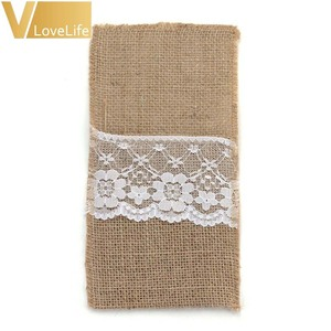 """Image 4 - 100pcs Burlap Lace Cutlery Pouch Wedding Tableware Pouch Party Holder Bag 4"""" x 8"""" Hessian Rustic Jute Table Decoration"""