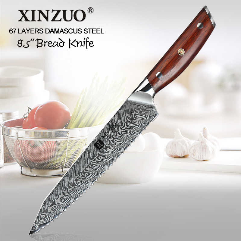 XINZUO 8.5'' inch Bread Knife 67 Layers Damascus High Quality Kitchen Serrated Knife Cooking Tools Mosaic Rivet Rosewood Handle