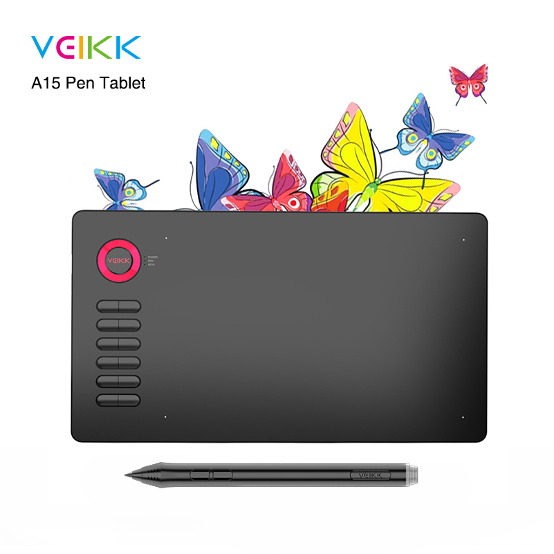 VEIKK A15 Drawing Tablet Large area of 10 x 6 inch graphic tablet 12 Keys 20