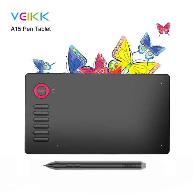 VEIKK A15 Drawing Tablet Large area of 10 x 6 inch with Battery-Free pen and 12 Keys,20 Nibs and 1 Glove( Red,Blue,Gold,Gray)