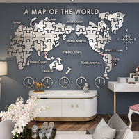 Office creative wall decoration world map acrylic 3d wall sticker living room wall decoration art