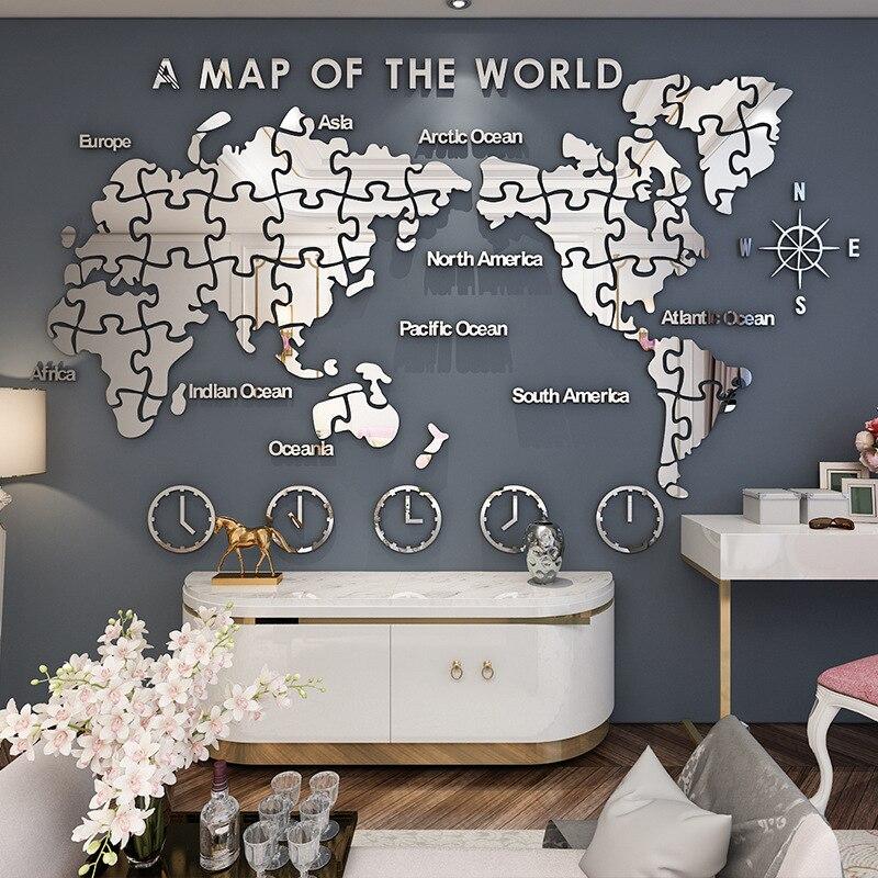 Bureau creative décoration murale carte du monde acrylique 3d wall sticker salon décoration murale art