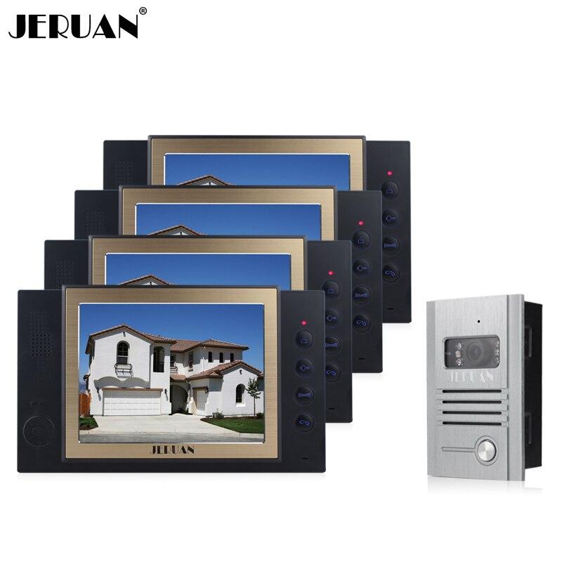 JERUAN Door Phone Doorbell System 1 Camera 4 Monitors Video Recording Photo Taking Metal Shell Outdoor Intercom