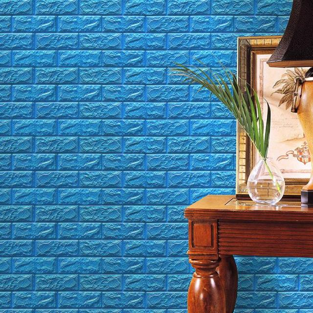 PE Foam 3D Wallpaper Wall Protection Simulation Brick Wall Stickers DIY  Wall Decorative Relief Masonry White