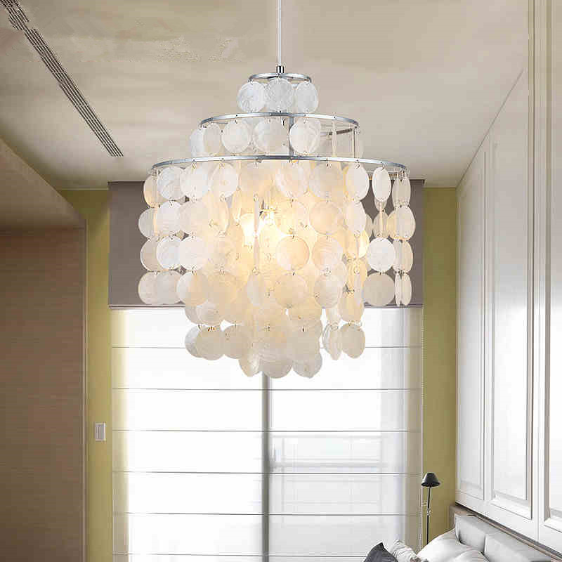 Modern Round Chandelier Lighting with Round Capiz Seashells Natural White Pendant Lamp for Living Room Bedroom Dining room modern crystal chandelier hanging lighting birdcage chandeliers light for living room bedroom dining room restaurant decoration