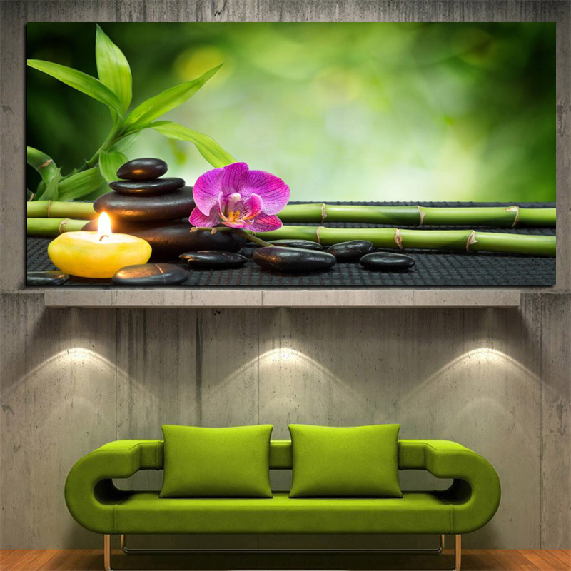 HD Print Modern Orchid Zen Spa Stone Bamboo Candls Oil Painting On Canvas Art Poster Wall Art Picture For Living Room Cuadros