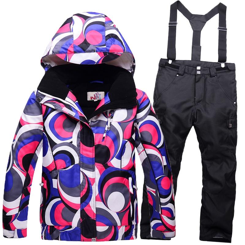 children's girls+boys ski suits Outerwear Warm Coat Sporty Kids Clothes Sets Waterproof Windproof skiing Jackets Ootdoor sports