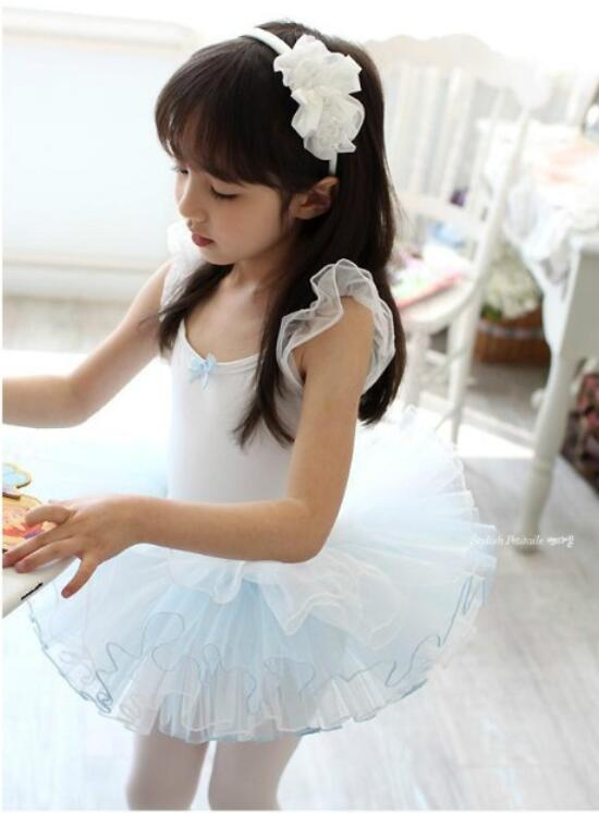Short Sleeve Gymnastics Leotard Ballet Tutu Dance Dress For Girls Ballet Clothes Children Ballerina Costume Dancewear White