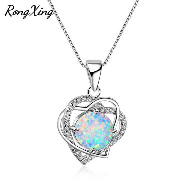 Rongxing double heart white fire round opal pendants necklaces women rongxing double heart white fire round opal pendants necklaces women 925 sterling silver filled necklaces fashion aloadofball Image collections