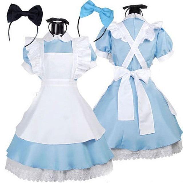 Venda quente alice no país das maravilhas traje lolita dress maid cosplay fantasia de carnaval trajes de halloween para as mulheres