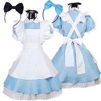 Vente chaude Alice au Pays Des Merveilles Costume Lolita Dress Maid Cosplay Fantasia Carnaval Halloween Costumes pour Femmes
