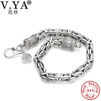 Wholesale Genuine 100 Real Pure 925 Sterling Silver Thick Men Bracelet Safe Bracelet Free Shipping Men