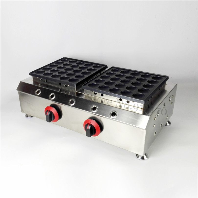 50 Holes Gas Poffertjes Machine Stainless Steel Commercial Dutch Pancakes Puffs Grill Nonstick Cooking Surface