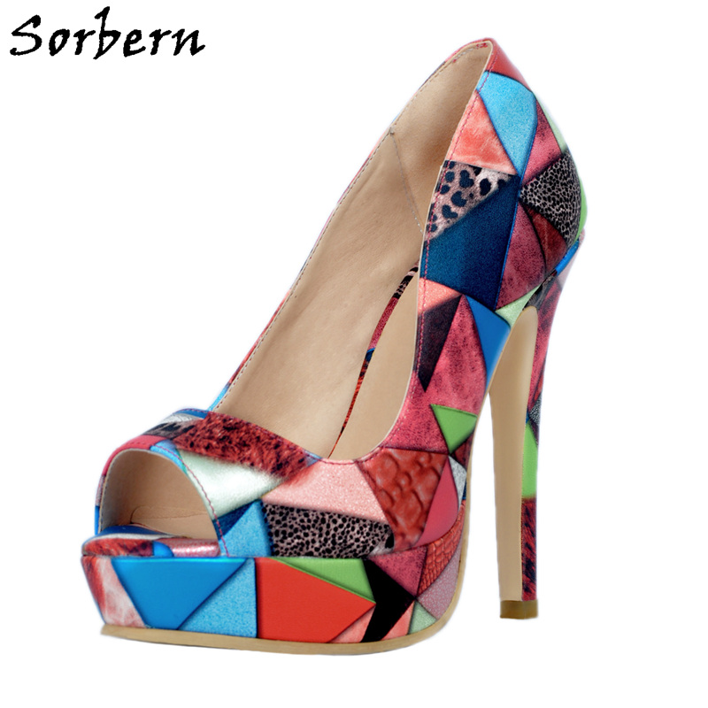 Sorbern Peep Toe Platform Party Shoes Women Heels Print Sexy Shoes Runway 2018 Ladies Heel Shoes Evening Club Party Shoes sorbern 16cm gold heels ankle straps peep toe platform shoes women size 32 52 party shoes for women heels ladies heel shoes