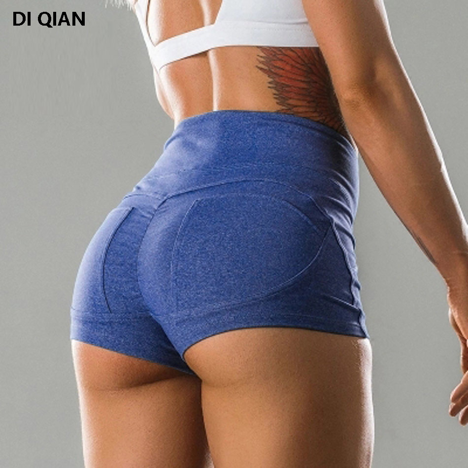 Women's Big Booty Sport Yoga Shorts High Waist Push Up Gym Compression Running Workout Shorts Athletic Fitness Slim Tight Shorts button embellished rolled up hem belted shorts
