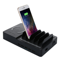 Desktop Pad Holder Mobile Phone Dock Tablet Stand QI Wireless Charger 5 USB Port Power Station Quick Charging Dock for iphone