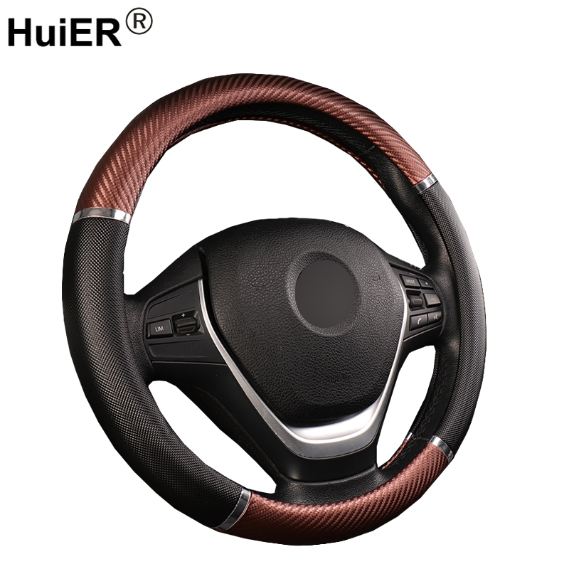HuiER Universal Car Steering Wheel Cover Artificial Leather 5 Colors Comfortable Non-slip Automobile Steering-Wheel Car Styling
