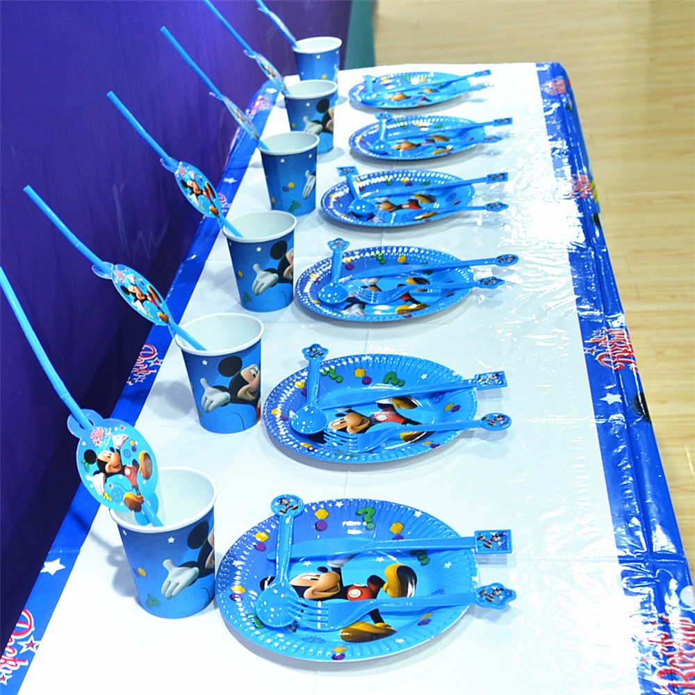 61pcs Disney <font><b>Mickey</b></font> <font><b>Mouse</b></font> Baby <font><b>Birthday</b></font> Party Favors Tableware Tablecloth Plate <font><b>Cup</b></font> Knives Fork Spoon Straws Kids Party Gifts