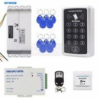 DIYSECUR 125KHz RFID Keypad Access Control Security System Full Kit Set + Electric Drop Bolt Lock Electric Mortise Lock