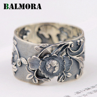 BALMORA Vintage Flower 990 Pure Silver Open Rings For Women Lover Party Gift Flower Ring Thai