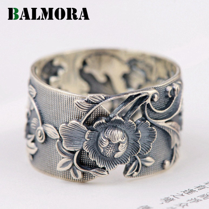 BALMORA Vintage Flower 990 Pure Silver Open Rings for Women