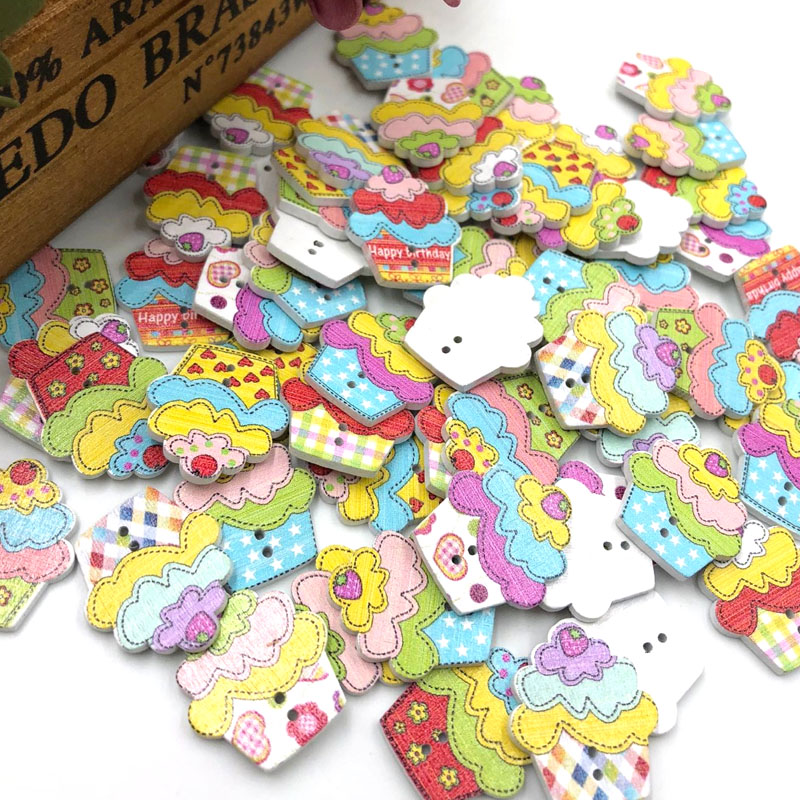 New 1050100 pcs Mix Cake ice cream Wood Buttons Sewing Mix Lots WB254