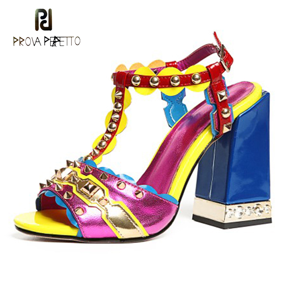 Prova Perfetto new design multi color genuine leather women gladiator sandals t strap rivets square high heel ladies party shoes stylish women s sandals with color rivet and t strap design