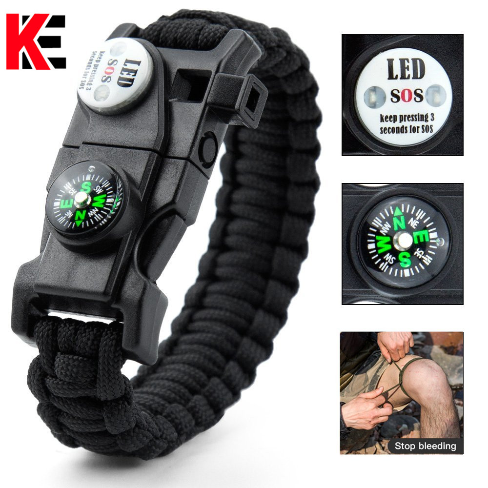Outdoor Multifunctional Survival Bracelet Paracord Braided Rope Men Camping EDC Tool Emergency SOS LED Light Compass Whistle