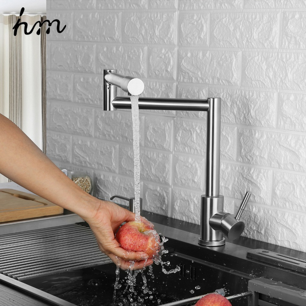 hm Folding Kitchen Faucet Stretchable Swing Arm Brushed Single Hole Single Handle Deck Mounted Cold & Hot Kitchen Sink Faucet