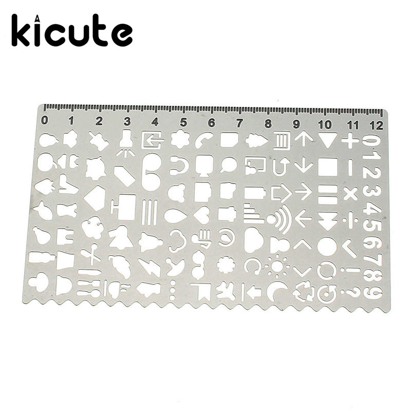 1pcs Hollow Cutout Metal Drawing Scale Ruler DIY Cute Kawaii Gift Graffiti Stencil For Stationery School Supplies Student