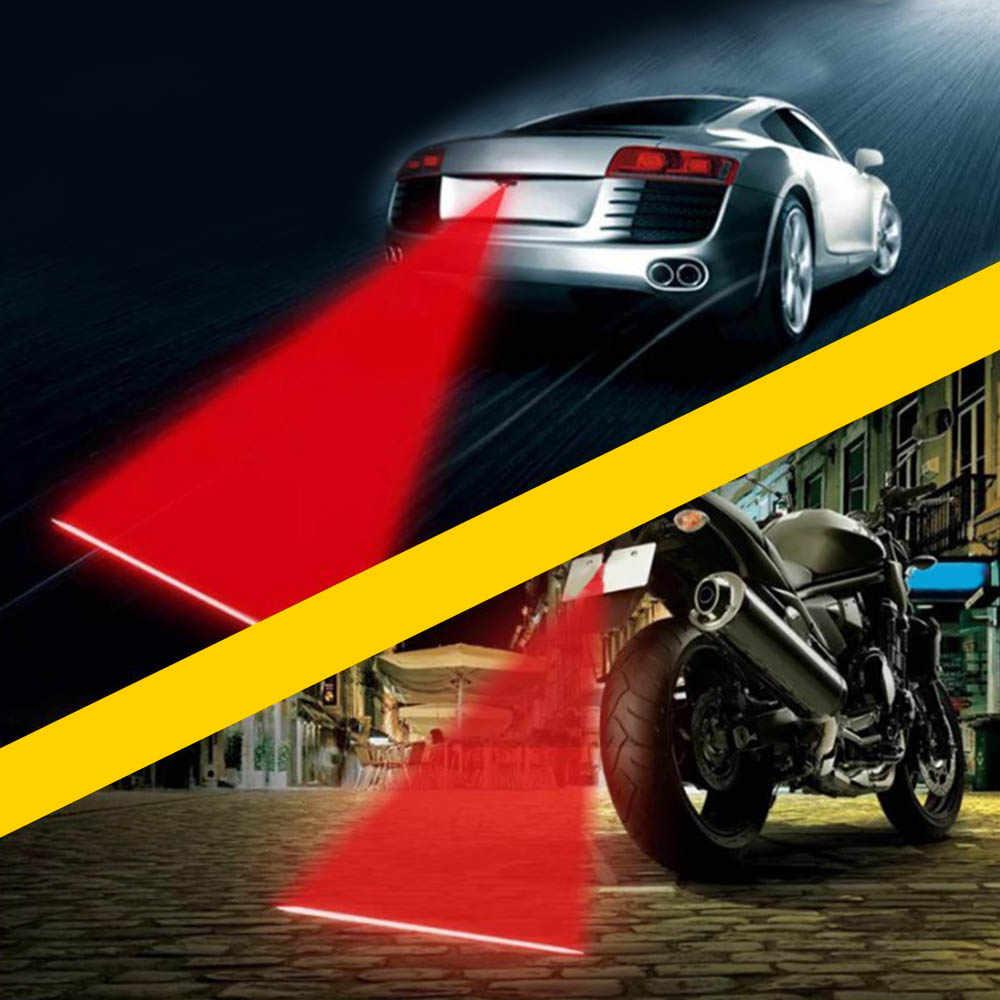Universal LEVOU Motocicleta Carro Lâmpada de Cauda Auto Moto Laser Luz de Nevoeiro Anti Colisão Aviso Sinal De Travagem de Estacionamento Lâmpadas Car styling