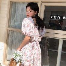 Платье принцессы трапециевидной формы с бантом на спине и квадратным вырезом; платье трапециевидной формы с пышными рукавами и цветочным принтом; Kawaii Robe Femme Vestido Mujer Vestiti Donna
