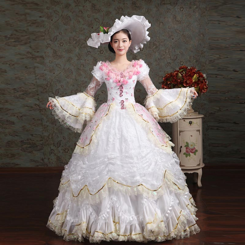 18th Century V Neck White Lace Ruffles Muliti Layer European Court Rococo Party Dress Renaissance banquet Show Ball Gowns