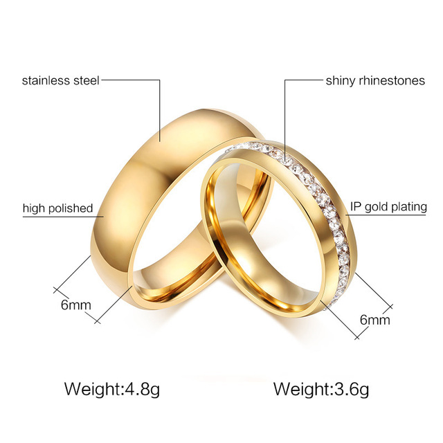 Meaeguet Gold color Stainless Steel Wedding Bands Shiny Crystal Ring for Female Male Jewelry 6mm Engagement Ring USA Size 5-13 1