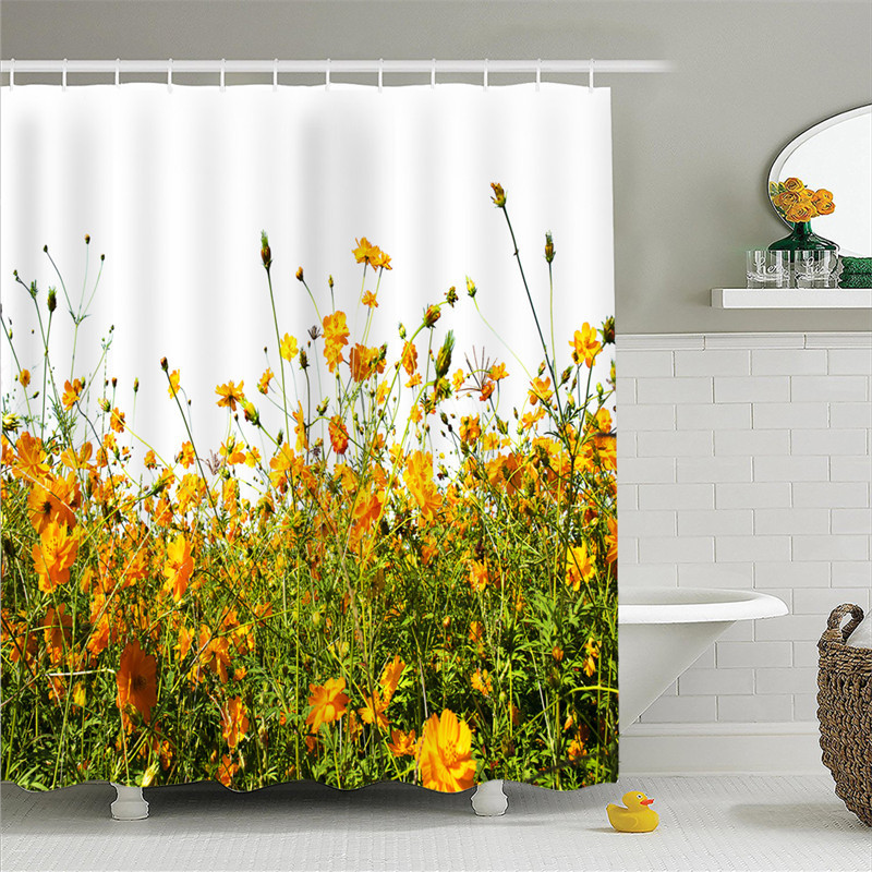 Hot 3D Printing Shower Curtain Natural Scenery Sunny Rapeseed Shower Curtain Bedroom Bathroom Curtain