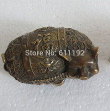 A chinese copper money Lucky Pig statue/sculpture antique metal crafts,Size:7*6*11 cm(China)