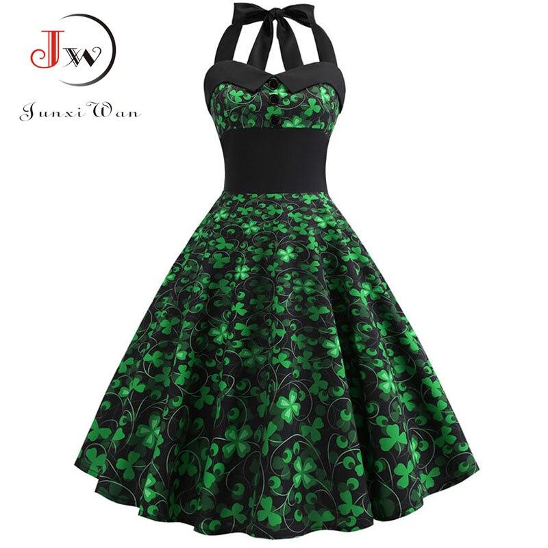Vestido de verano para mujer, vestido de fiesta Sexy con cuello Halter, vestido elegante Vintage de mujer, Vestido de playa de talla grande verde