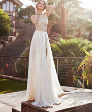 High Neck Sexy Backless Wedding Dress Gold Beading Belt Bohemian Bridal Gowns 2016 Vestido Novias China