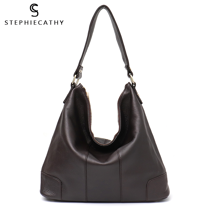 SC Fashion Women Real Leather Shoulder Bag Designer Female Hobo Handbag High Quality Cowhide Tote Bag